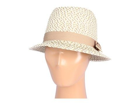 Hat Attack Tweed Fedora with Grosgrain Ribbon and Natural Leather Tabs Trim at Pesca Boutique. - Price: $84.00