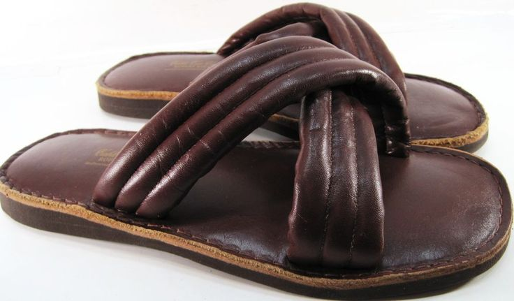 Cable Car Clothiers Men Leather Slippers One Size Fit All Brown #CableCarClothiers #OpenToe