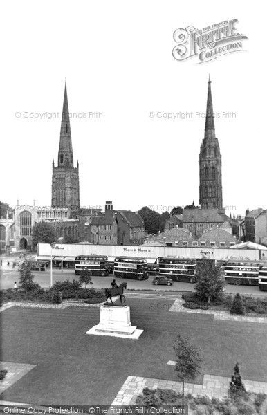 Coventry, Old Cathedral And Holy Trinity c.1955, from Francis Frith