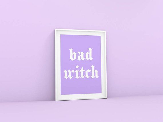 This Purple Aesthetic Print Is A Wall Art Printable That Reads Bad Witch This Pastel Witch Art Print Woul Purple Wall Art Tumblr Room Decor Wall Collage Decor