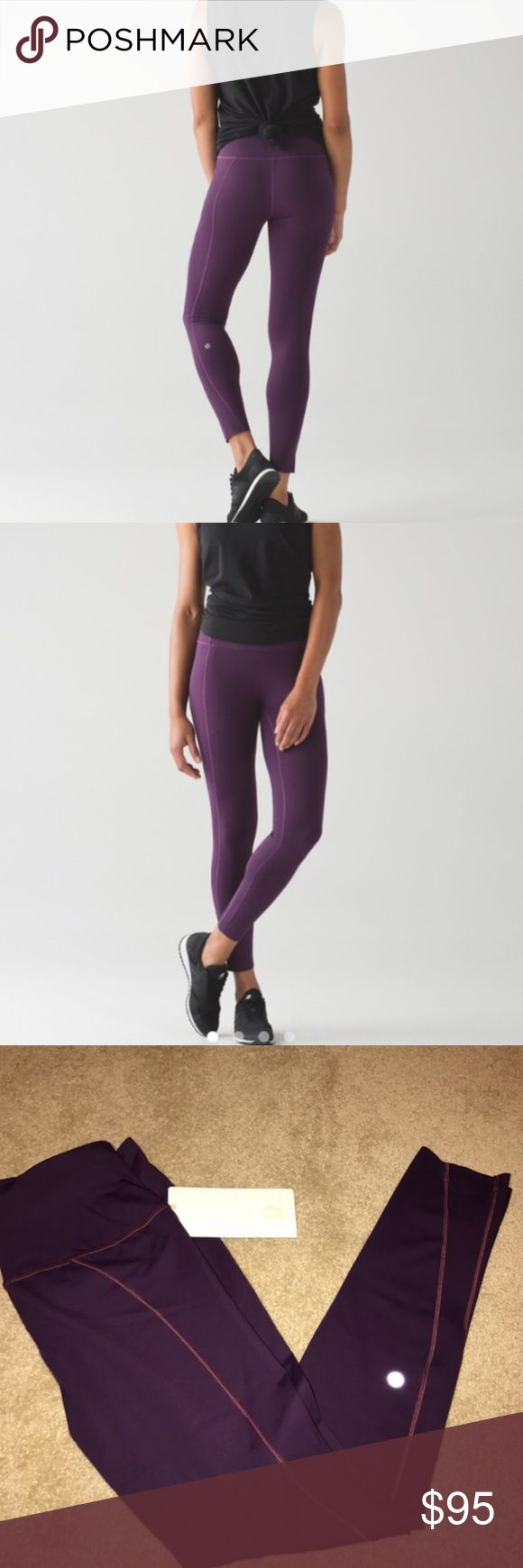 New burgundy/plum pants Gorgeous color and so comfortable!! Naked sensation and high waisted 7/8 tights. New with tag purchased from lulu myself Retails $128 lululemon athletica Pants Leggings