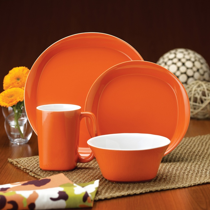 Have to have it. Rachael Ray Round and Square Orange Dinnerware - Set of 16 $69.99