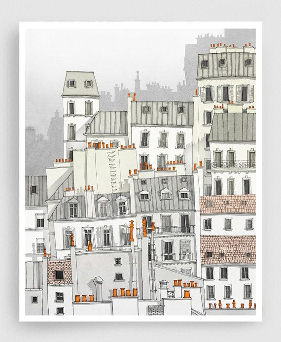 PARIS, MONTMARTRE Paris illustration - Fine Art Print signed by the artist  ● SIZES: 5x7 to 20x30 inches with a 1/4 white border ● COLORS: This