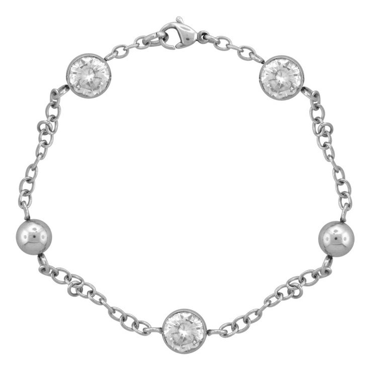 Stainless Steel Chain Bracelet with Polished Steel Balls and Bezel Set Faceted Cubic Zirconia http://lily316.com.au/shop/bracelets-ladies-stainless-steel/stainless-steel-cubic-zirconia-and-steel-ball-bracelet/