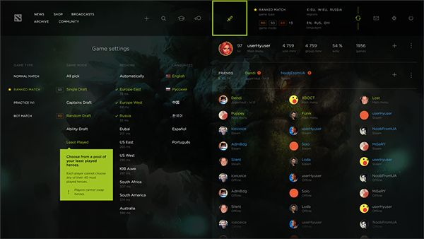 DOTA 2 - Interface Redesign on Behance - great design and interaction concepts - see the site for animations and explanations