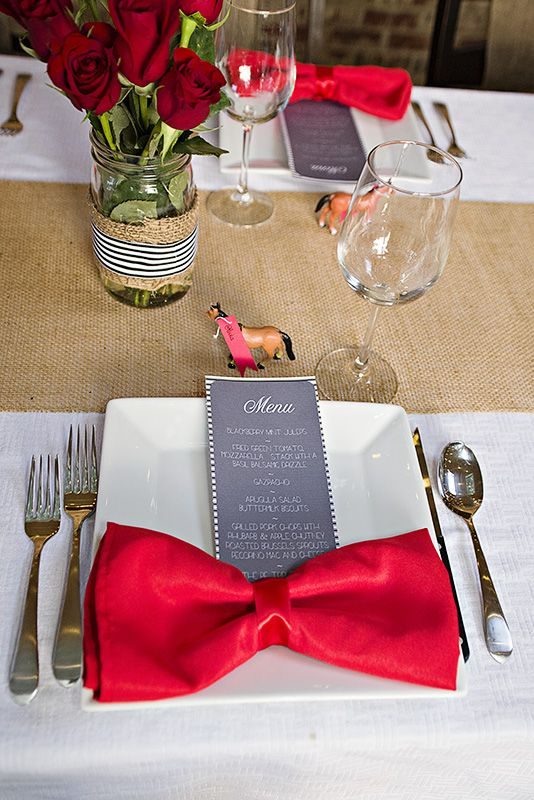 dc gourmet club.  Menu and cute horse place cards.  Love the bow napkins! Kentucky Derby Party