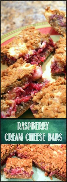 Raspberry Cream Cheese Bars... Could be the perfect bar/cookie. Oh boy these are good! And almost healthy... A full pound of fruit, plenty of colon cleansing oats. The texture is soft and chewy, with the cream cheese fruit filling practically melting the usually hard oat/sugar mix. Could be the perfect bar. But honestly it's the taste. Rich seasonal raspberries, sweetened with sugary cream cheese, all wrapped with an almost brownie like base and crunchy oat topping.