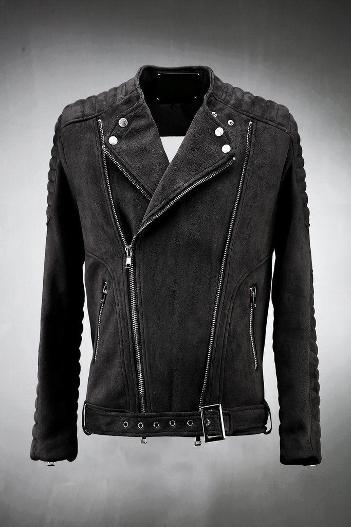 Suede Embossing Sleeve Rider Jacket