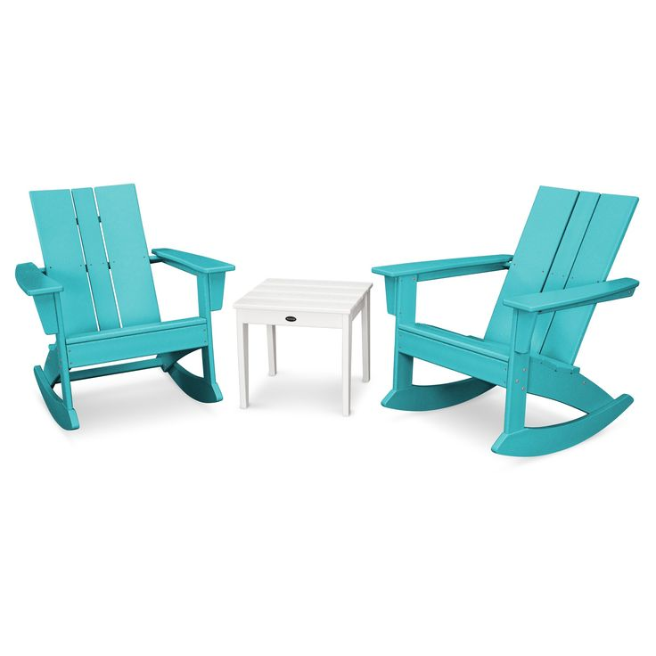 St. Croix 3pc Adirondack Rocking Chair Set - Aruba - Polywood