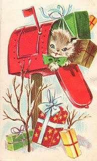 Vintage Christmas Card - kitten and presents in mailbox. Cute!