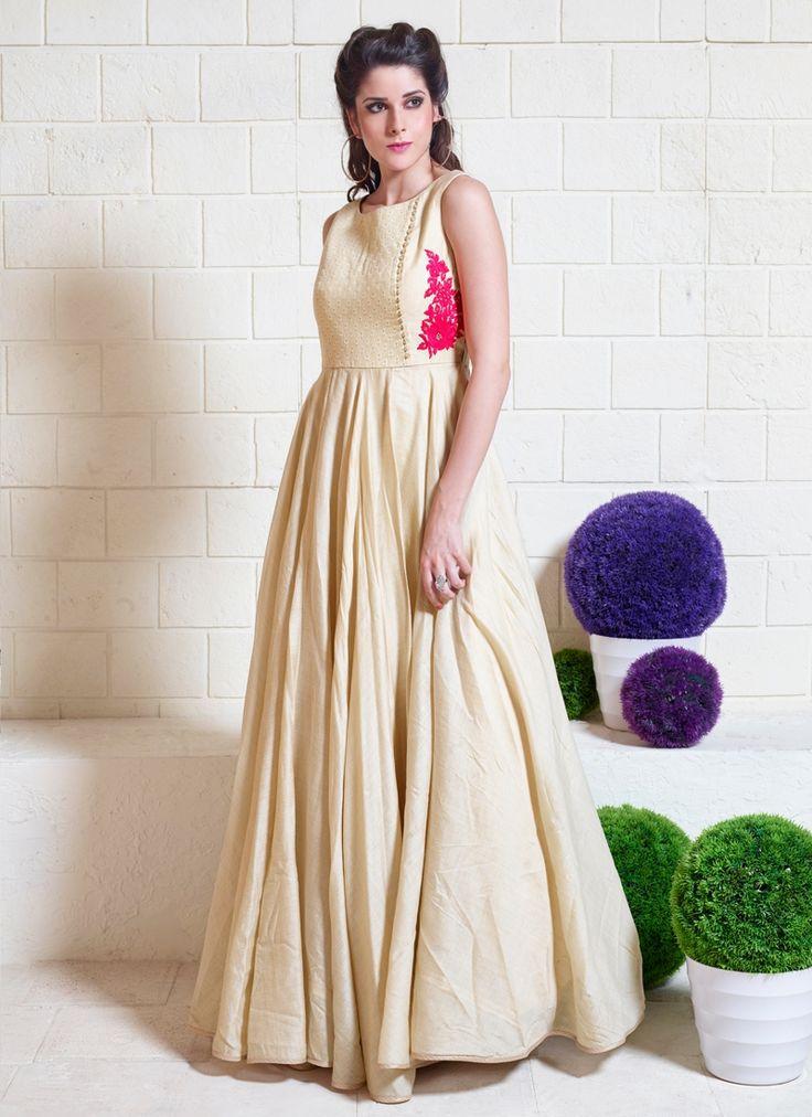 Buy Amazing Beige Embroidered Work Designer Gown, Online