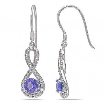infinity earring collection. sterling silver 1/10 ct diamond tw and 1 tgw tanzanite infinity earring collection