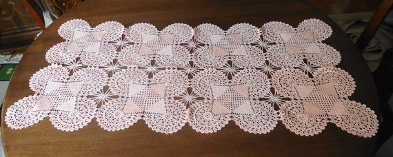 Large crochet doily salmon rectangular  by KnittingworldShop
