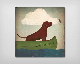 Fox Red Lab English Lab CANOE RIDE Graphic Art by nativevermont