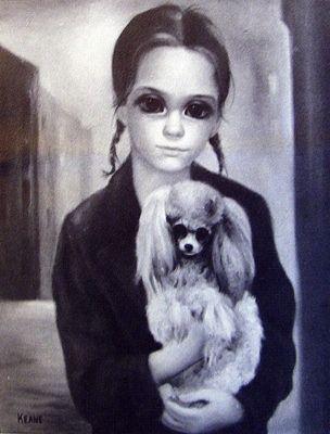 "Young Natalie Wood holding poodle by ""big-eye"" artist, Margaret Keane"