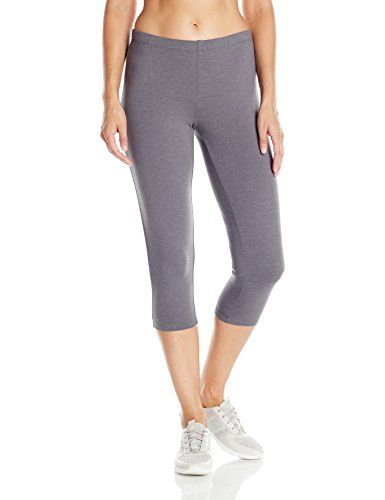 Hanes Women's Stretch Jersey Capri, Charcoal Heather, Large  Special Offer: $5.99  177 Reviews Wear these versatile stretch jersey capri pants when you're running errands or at the gymSoft cotton stretch jersey with a touch of spandex for move-with-you comfortHeavier fabric...