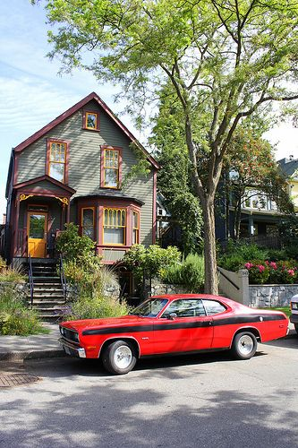 House and Car on East Georgia Street Strathcona Vancouver BC