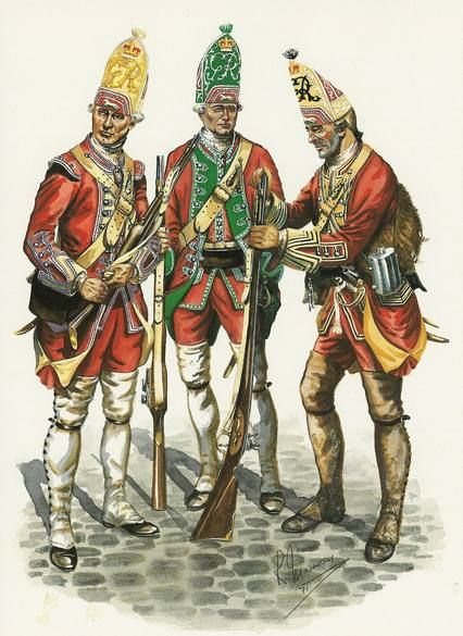 The 'Louisbourg Grenadiers'. During the Quebec campaign of 1759 a temporary force of Grenadiers was created from the 22nd, 40th and 45th to man Fort Louisbourg. The grenadier of the 40th, on the right, is wearing brown marching gaiters.