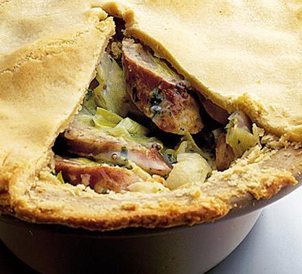 A filling and flavoursome shortcrust pastry pie with pork and mustard that won't stretch the budget