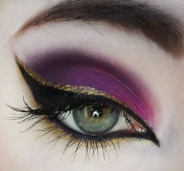 Purple, gold, and cat eyes.
