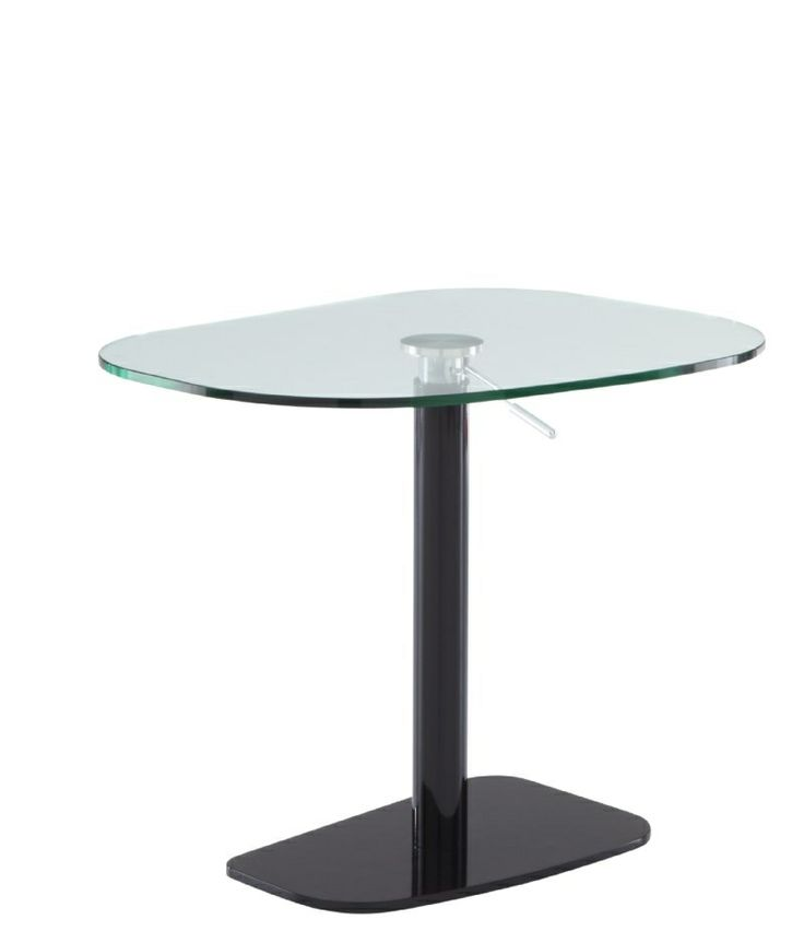 Piazza height adjustable table is stocked in Black & White finishes, both with a clear glass top. 75.5-100.7h x 68 x 90 cm.