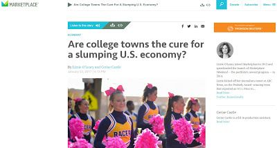 College Towns and Economic Resiliency links to podcast with transcript and an article
