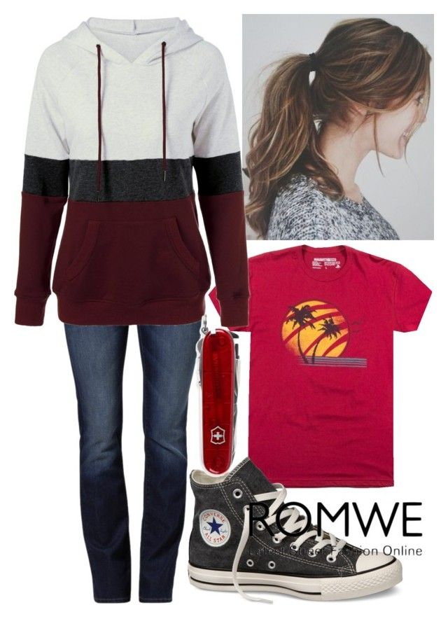 Romwe Hoodie by horselover35125 on Polyvore featuring polyvore, fashion, style, Mavi, Converse, Victorinox Swiss Army, clothing, romwe, Hoodies and falltrend