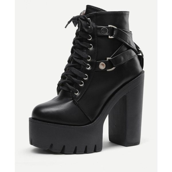 Side Zipper Platform Heeled PU Boots ($46) ❤ liked on Polyvore featuring shoes, boots, platform boots, pu shoes, side zipper boots, side zip shoes and polyurethane shoes