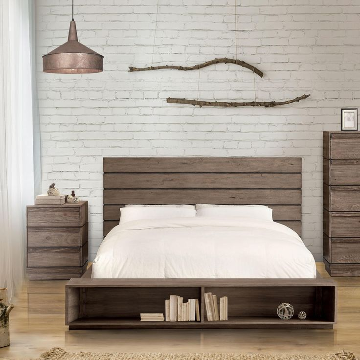Furniture of America Emallson II 2-piece Rustic Natural Tone Low Profile Bed and Nightstand Set (King), Brown, Size Eastern King