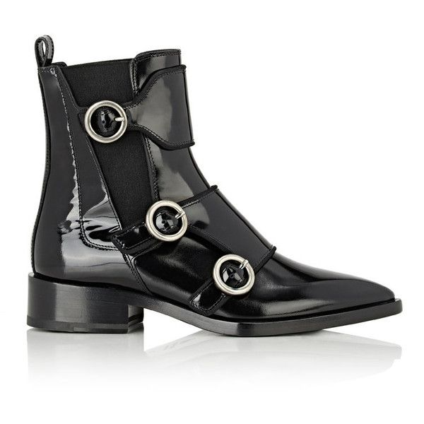 Lanvin Women's Buckled-Strap Chelsea Boots (28.912.185 VND) ❤ liked on Polyvore featuring shoes, boots, ankle booties, ankle boots, black, black ankle boots, black ankle booties, pointed toe booties and black patent leather booties