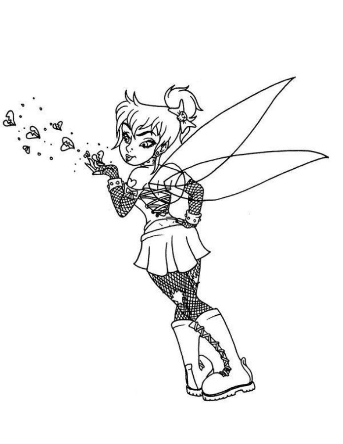 Gothic Style Tinkerbell Coloring Pages