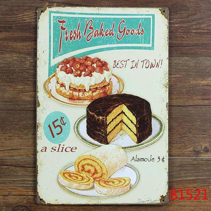 Barato Metal vintage poster Retro chique gasto Fresh assados cozinha de lata placa de parede C 52, Compro Qualidade Artesanato diretamente de fornecedores da China:                        Descrição                                 Sinal do metal, placa do sinal, logotipo placa