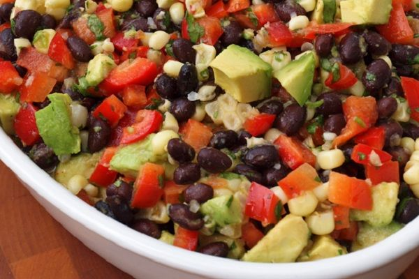 Black Bean Salad with Corn, Red Peppers, Avocado & Lime-Cilantro Vinaigrette! http://www.yummly.com/blog/2013/07/colorful-summer-vegetable-salads-no-lettuce-needed/