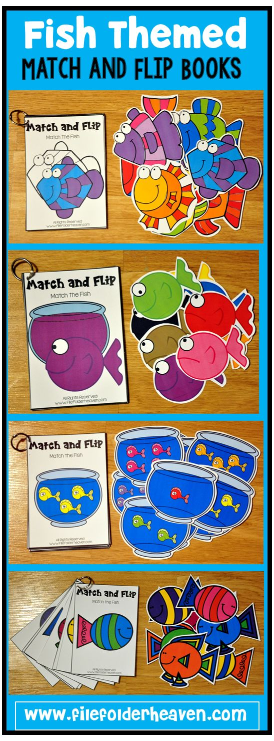 These Matching Activities: Fish Match and Flip Books focus on basic matching skills. In these activities students work on matching picture to picture (exact match), matching colored picture to outline, matching number of objects to number, and matching color to color.  There are four Match and Flip Books included in this download.
