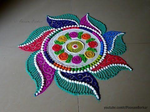 Simple rangoli circle design by Creative Hands using harpik bottle - YouTube