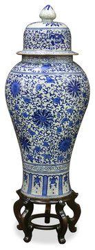 Blue & White Porcelain Ginger Jar asian vases
