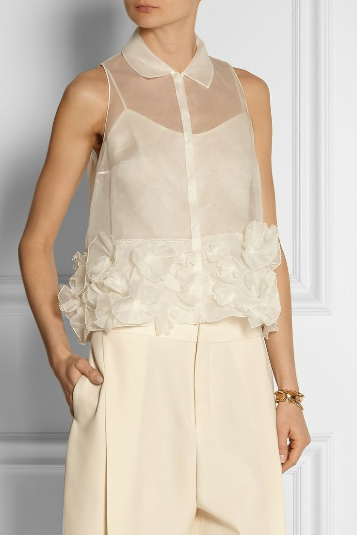 DELPOZO | Appliquéd cotton-organdy top