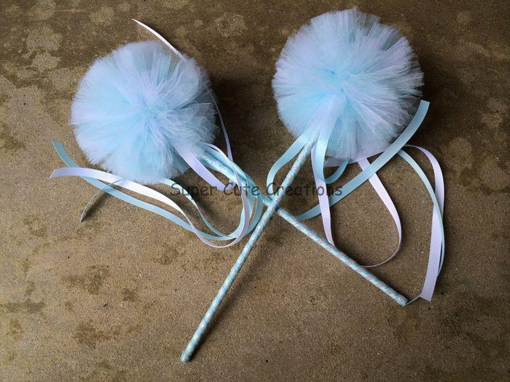 Frozen Themed Princess Wands / Frozen Princess Wands / Frozen / Frozen party favors / pom pom wand / tulle princess wands / fairy wands / by SuperCutieCreations on Etsy