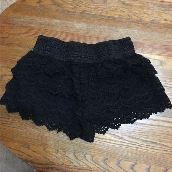 Black lace shorts Black lace shorts. Size Medium. Worn a few times, but still in great condition. No visible damage. American Rag Shorts