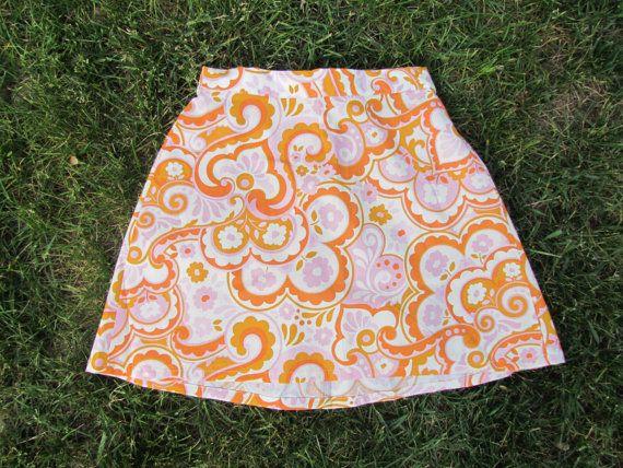 Orange Creamsicle Classic Skirt by LighthousesAndLilac on Etsy