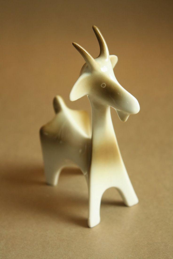 Art deco porcelain: Goat - Zsolnay