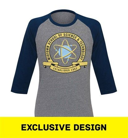 This heather gray t-shirt features Midtown School of Science and Technology indicia and sports blue, baseball-style sleeves. Science, you see, is a contact sport.
