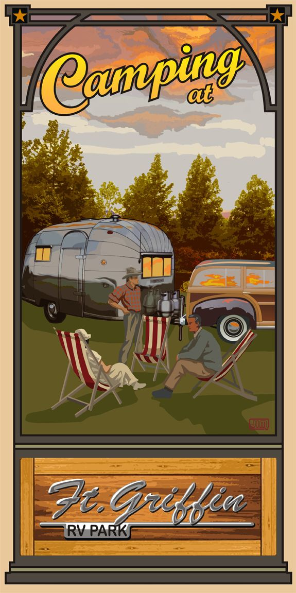 Camping At Ft Griffin R V Park By Texas Poster Texas