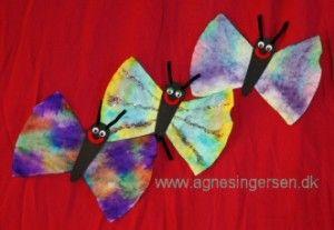 Mine nye sommerfugle fra bloggen: http://agnesingersen.dk/blog/sommerfugle/  easy kids crafts butterfly -coffee filter crafts for kids