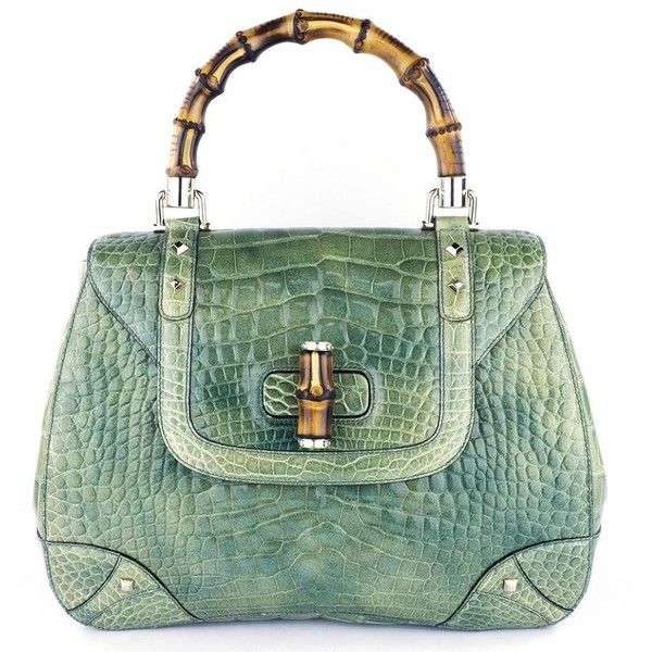 GUCCI Bamboo & Mint Green Alligator Handbag – THE WAY WE WORE ($6,500) ❤ liked on Polyvore featuring bags, handbags, mint handbag, gucci purse, mint purse, mint green purse and green bags