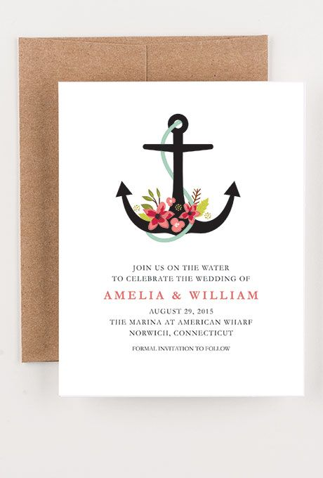 A nautical floral save-the-date card from @seahorsebend | Brides.com