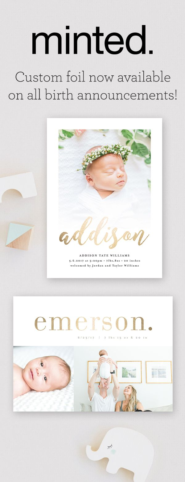 New birth announcement and baby announcement designs from Minted's community of independent artists. Includes free recipient addressing and free custom envelopes. Matching or coordinating stamps available