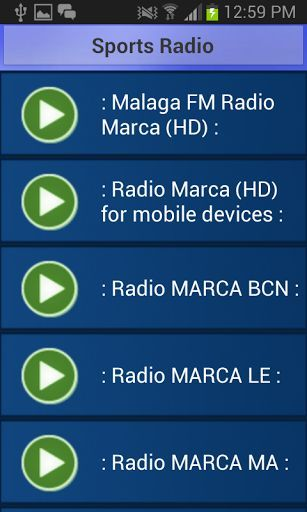 Do you love Sports ? Now you can listen to your favorite Sports radio stations and get all the updates of your <p>favorite Sports.Install this app and select any station to play.<p>It requires Internet connection to run this radio app. <p>Stations Included:<p>: Malaga FM Radio Marca (HD) :<p>: Radio Marca (HD) for mobile devices :<p>: Radio MARCA BCN :<p>: Radio MARCA LE :<p>: Radio MARCA MA :<p>730 Yahoo Sports<p>89,4 Arena Fm<p>A Ras de Csped<p>Almadina fm<p>AMG Radio One Am…
