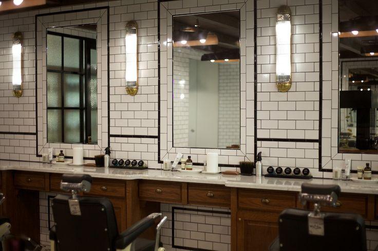50s Bathroom Decor | Art Deco motif shower | Mint subway tile bathroom | Vintage barber ...