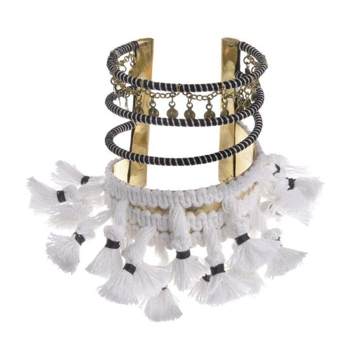 METAL BRACELET W/ WHITE TASSELS - Bracelets - Jewellery - Accessories